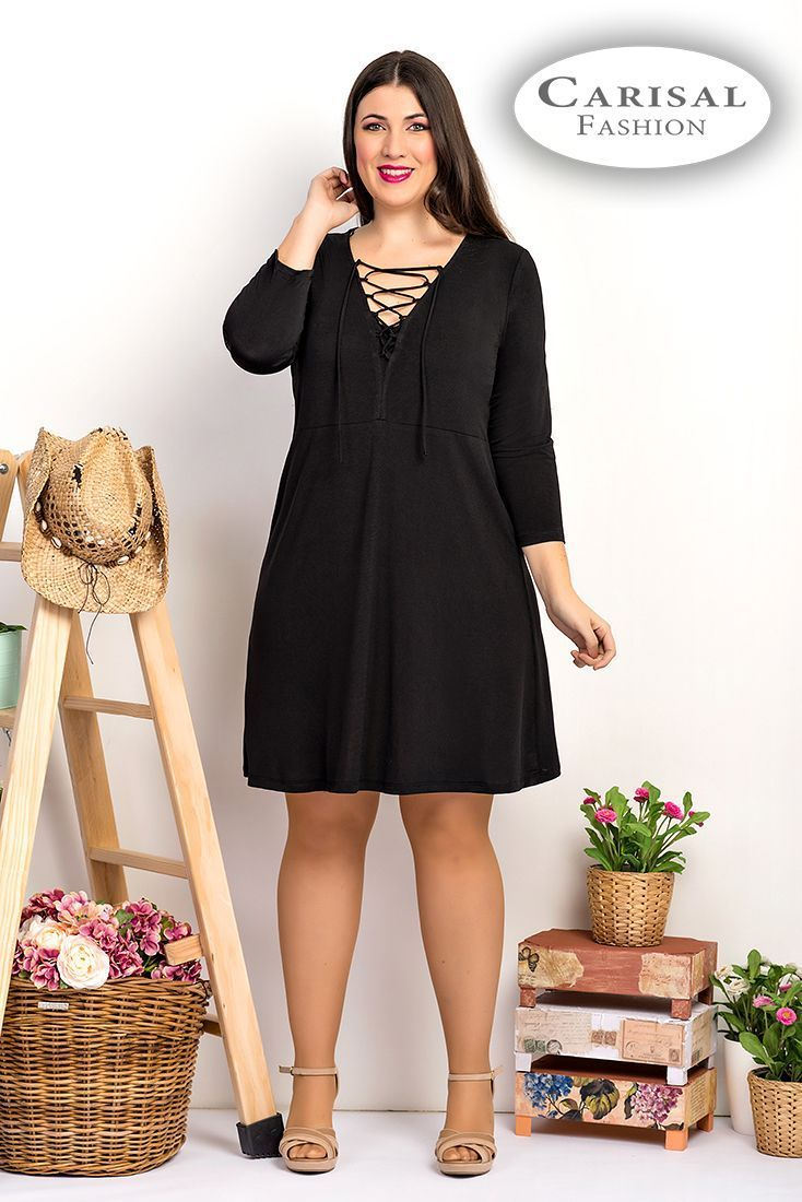 Vestidos Mujeres Tallas Grandes negro elegante