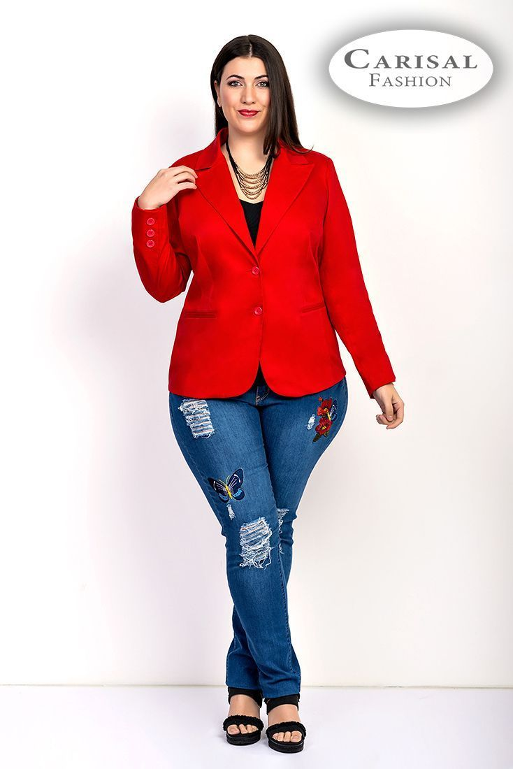 Chaqueta de talla grande roja
